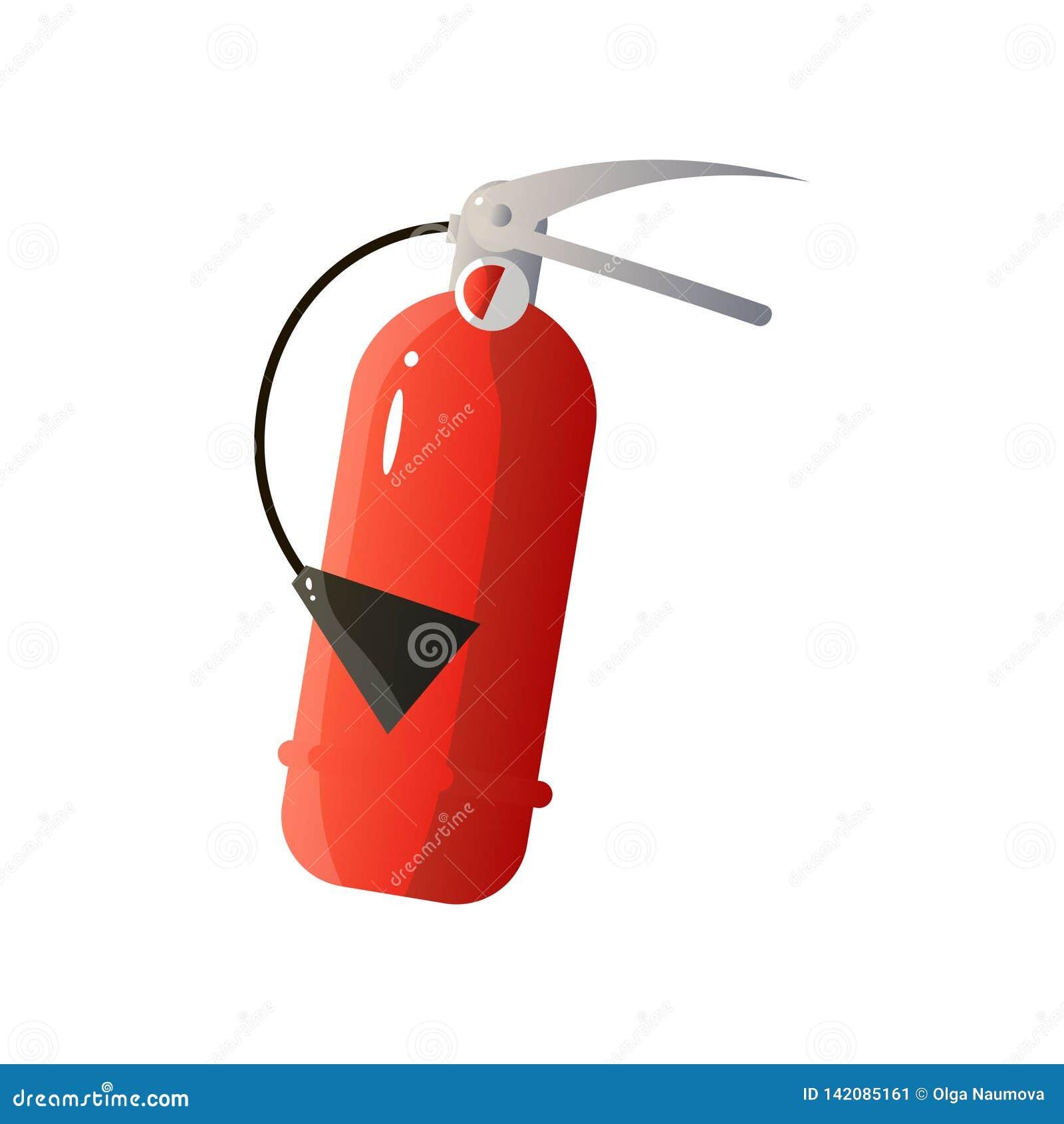 Icône plate rouge d extincteur d isolement sur le fond blanc