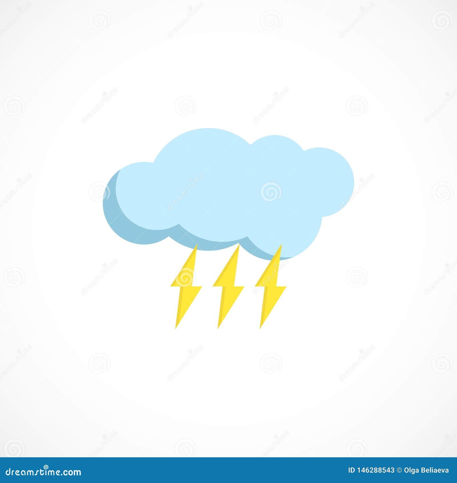 Ic?ne pr?vue plate d un temps pluvieux sur le blanc