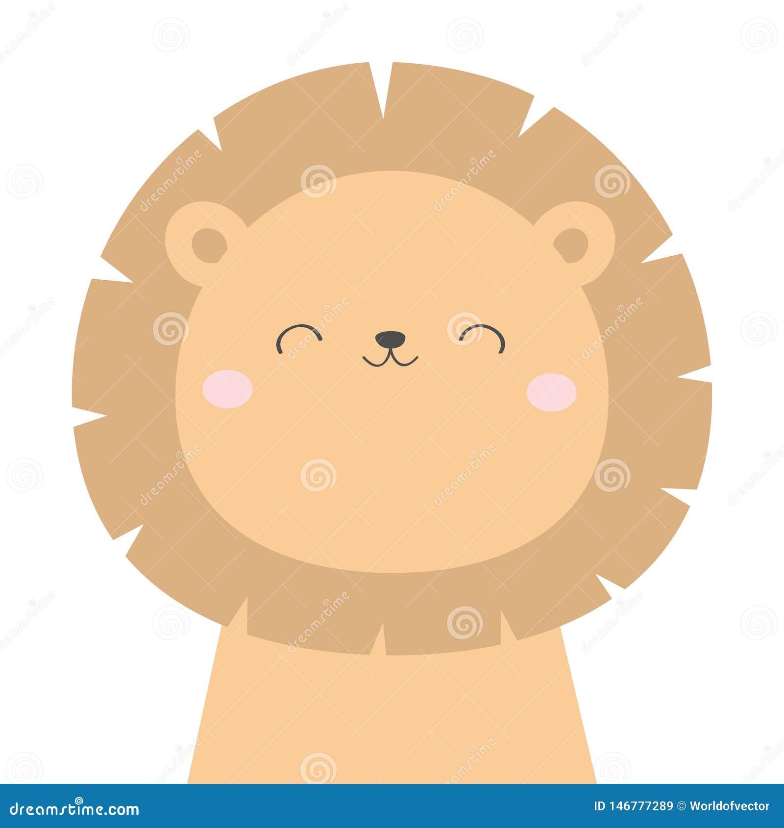 Icône Principale De Visage De Lion Animal De Kawaii