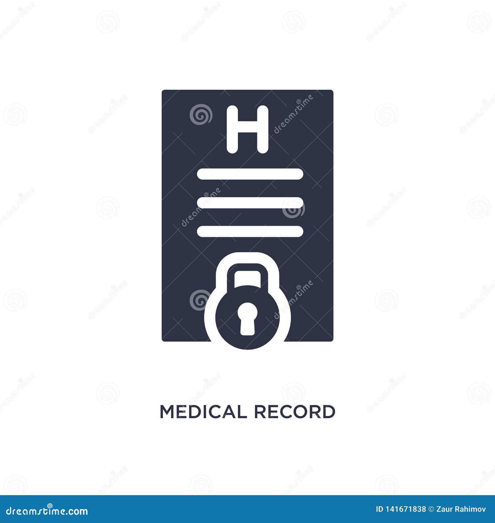 Icône record médicale sur le fond blanc Illustration simple d élément de concept de gdpr