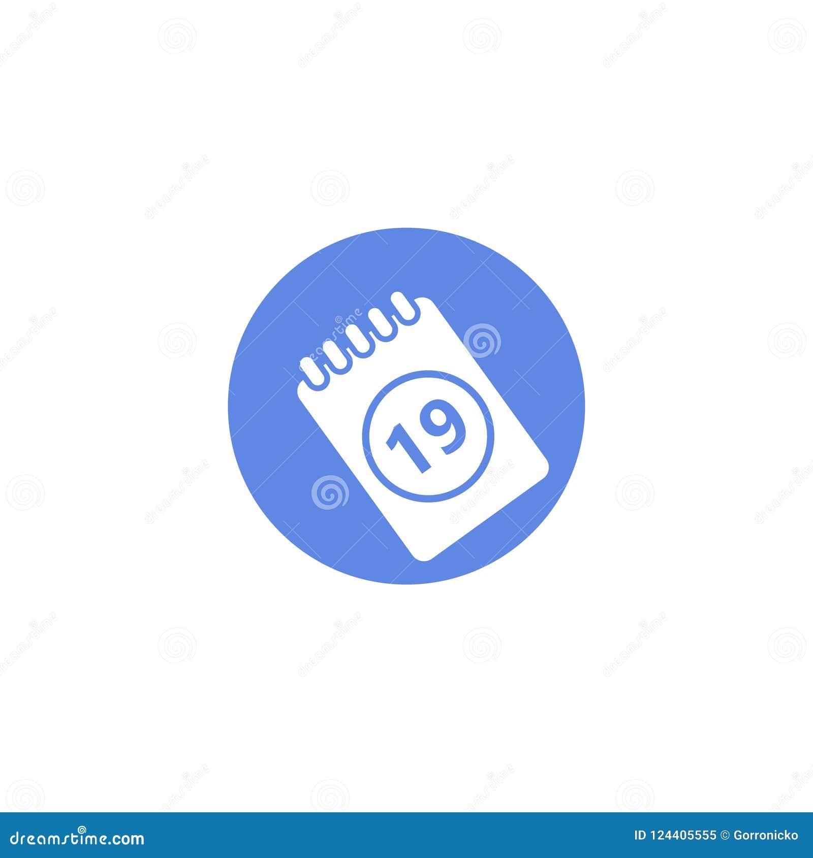 Icône ronde d art plat simple de vecteur de calendrier avec le numéro dix-neuf