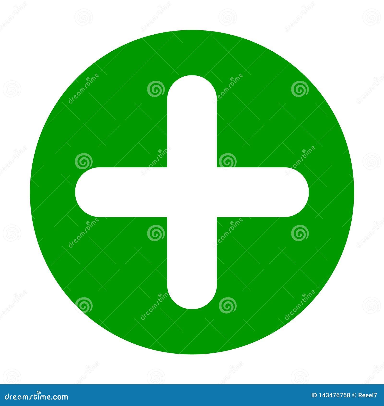 Icône ronde plate de vert de plus, bouton Symbole positif d isolement sur le fond blanc