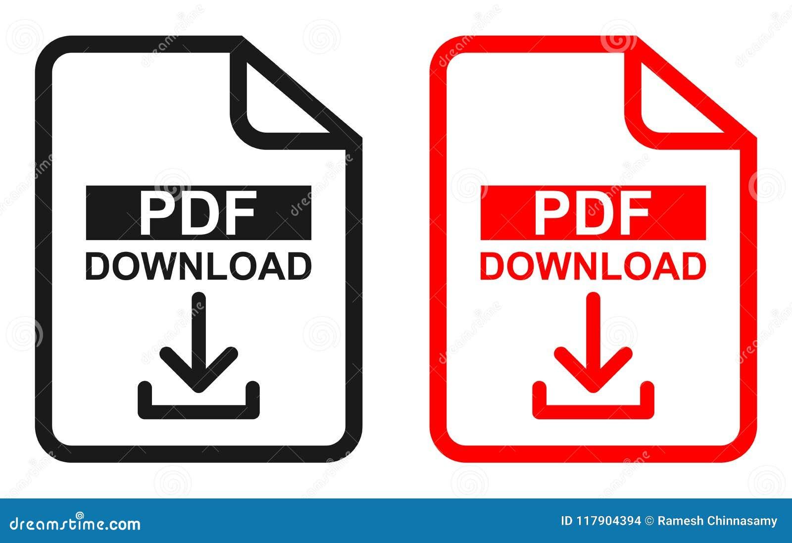 Icône rouge et noire de téléchargement de dossier de PDF de couleur