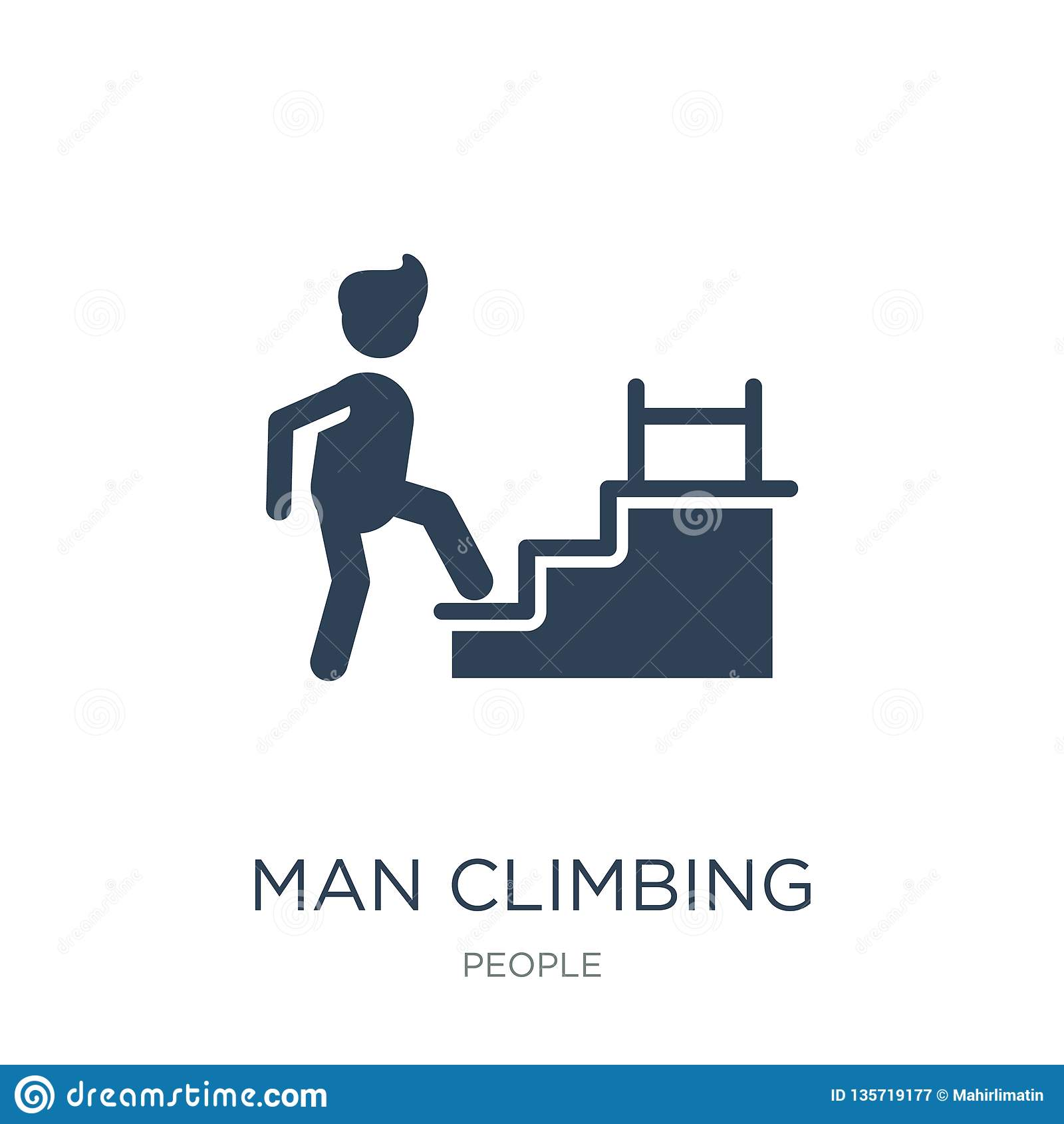 Icône s élevante d escaliers d homme dans le style à la mode de conception icône s élevante d escaliers d homme d isolement sur l