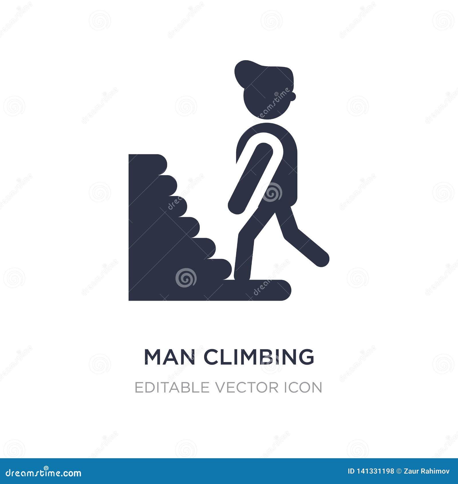 Icône s élevante d escaliers d homme sur le fond blanc Illustration simple d élément de concept de personnes