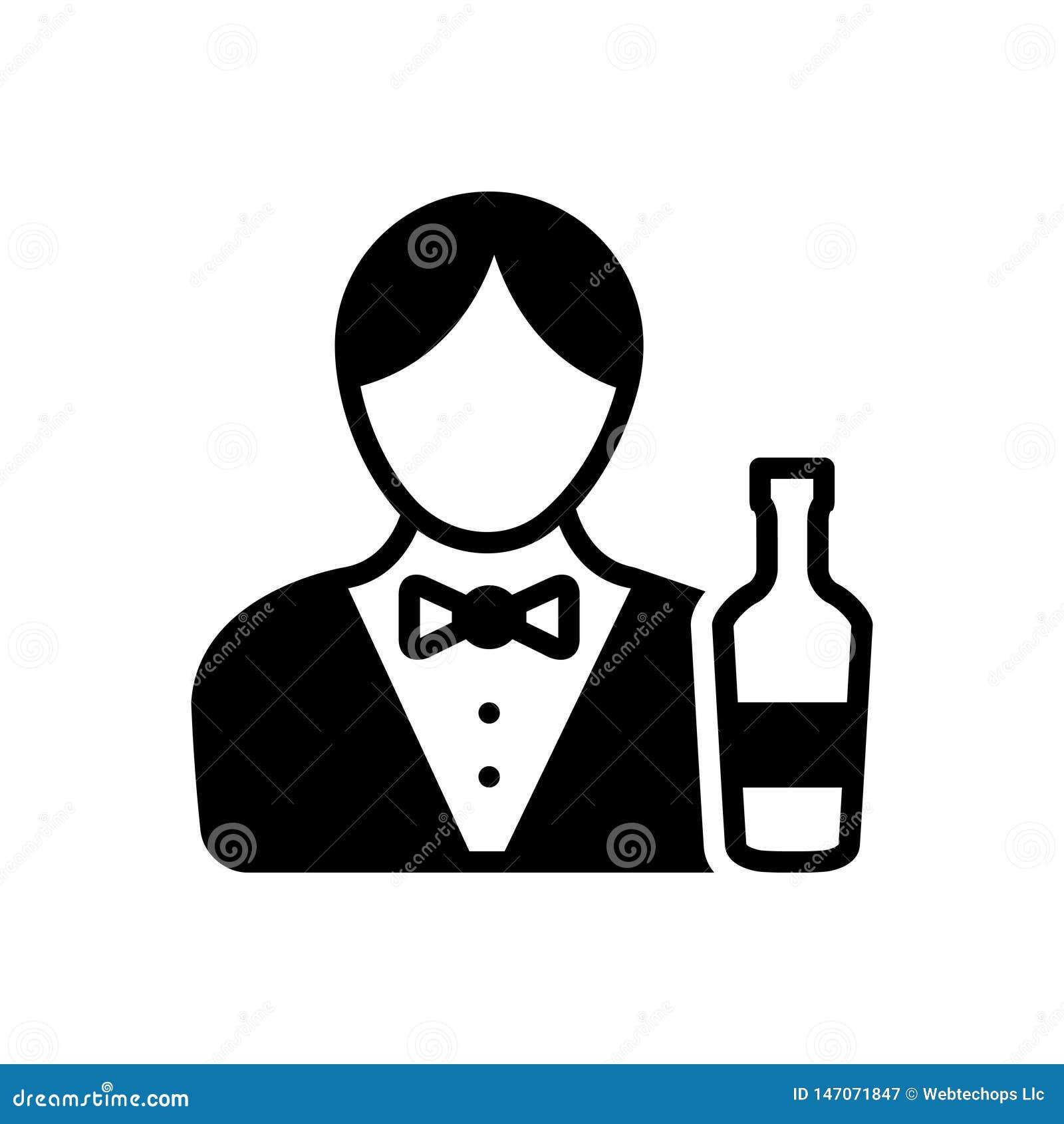 Ic?ne solide noire pour le barman, le m?le et le serveur