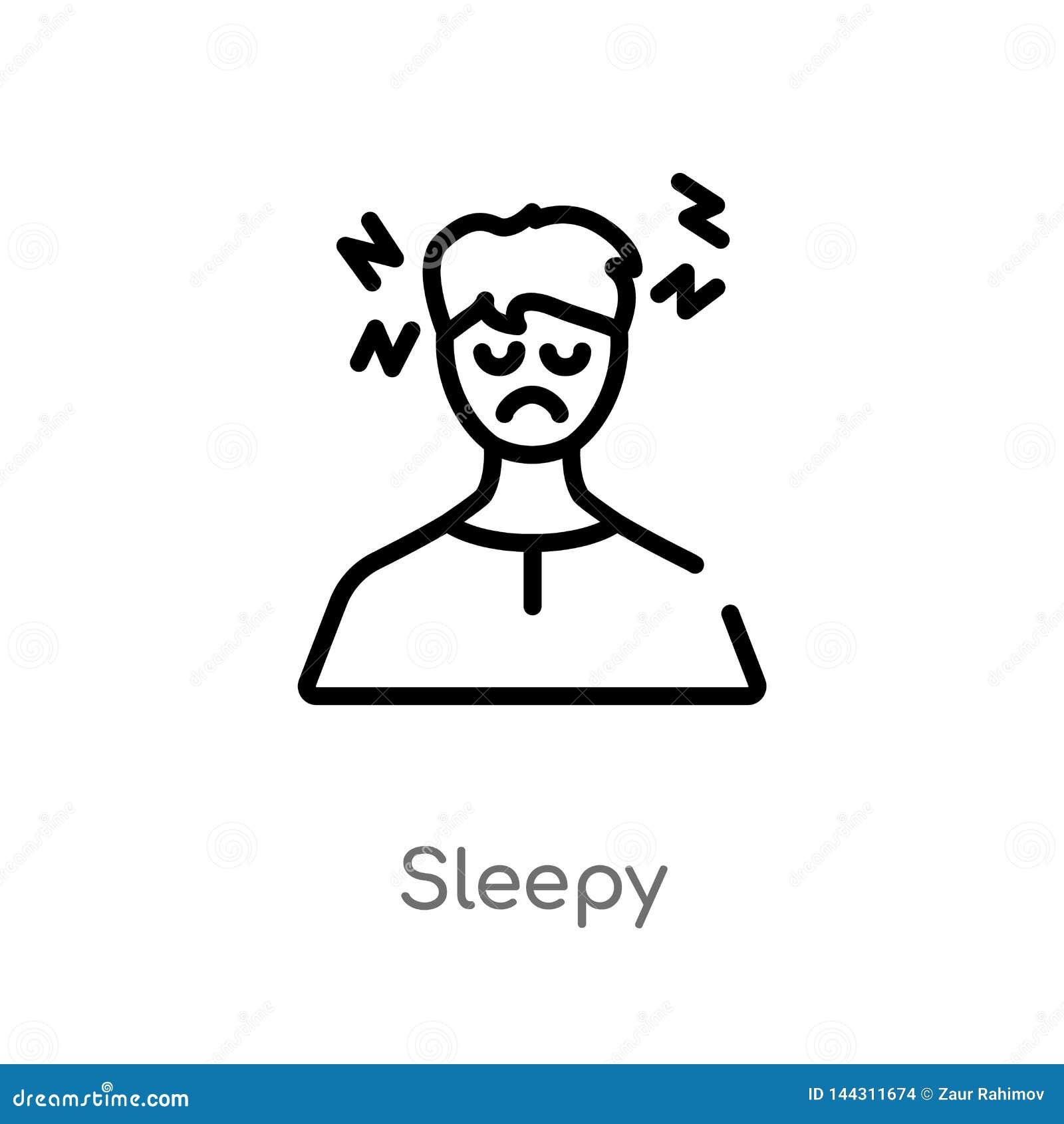 Icône somnolente de vecteur d ensemble ligne simple noire d isolement illustration d élément de l autre concept icône somnolente