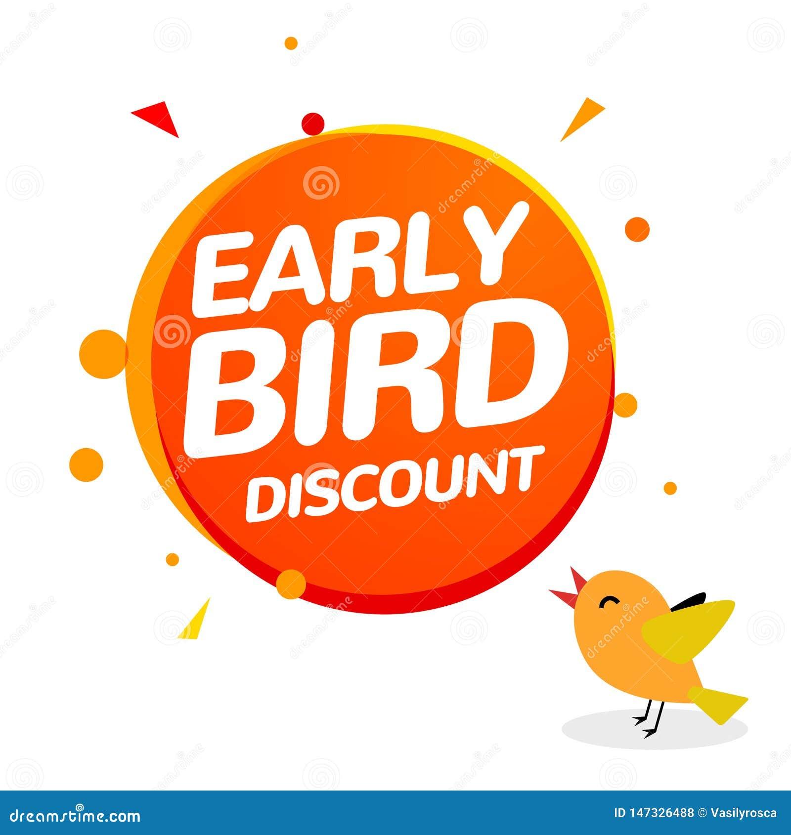 Icône tôt de vente d offre spéciale de vecteur de remise d oiseau Bannière tôt de signe de promo de bande dessinée d icône d oise