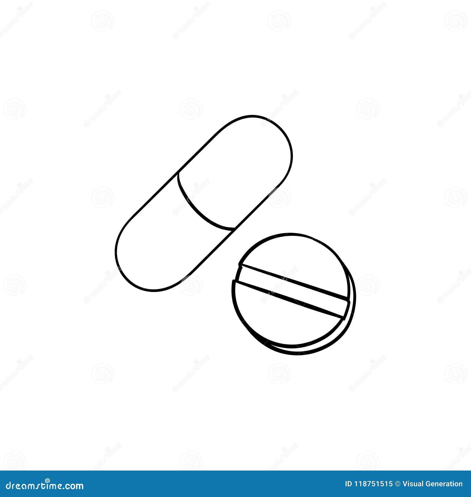 Icône tirée par la main de griffonnage d ensemble de pilules