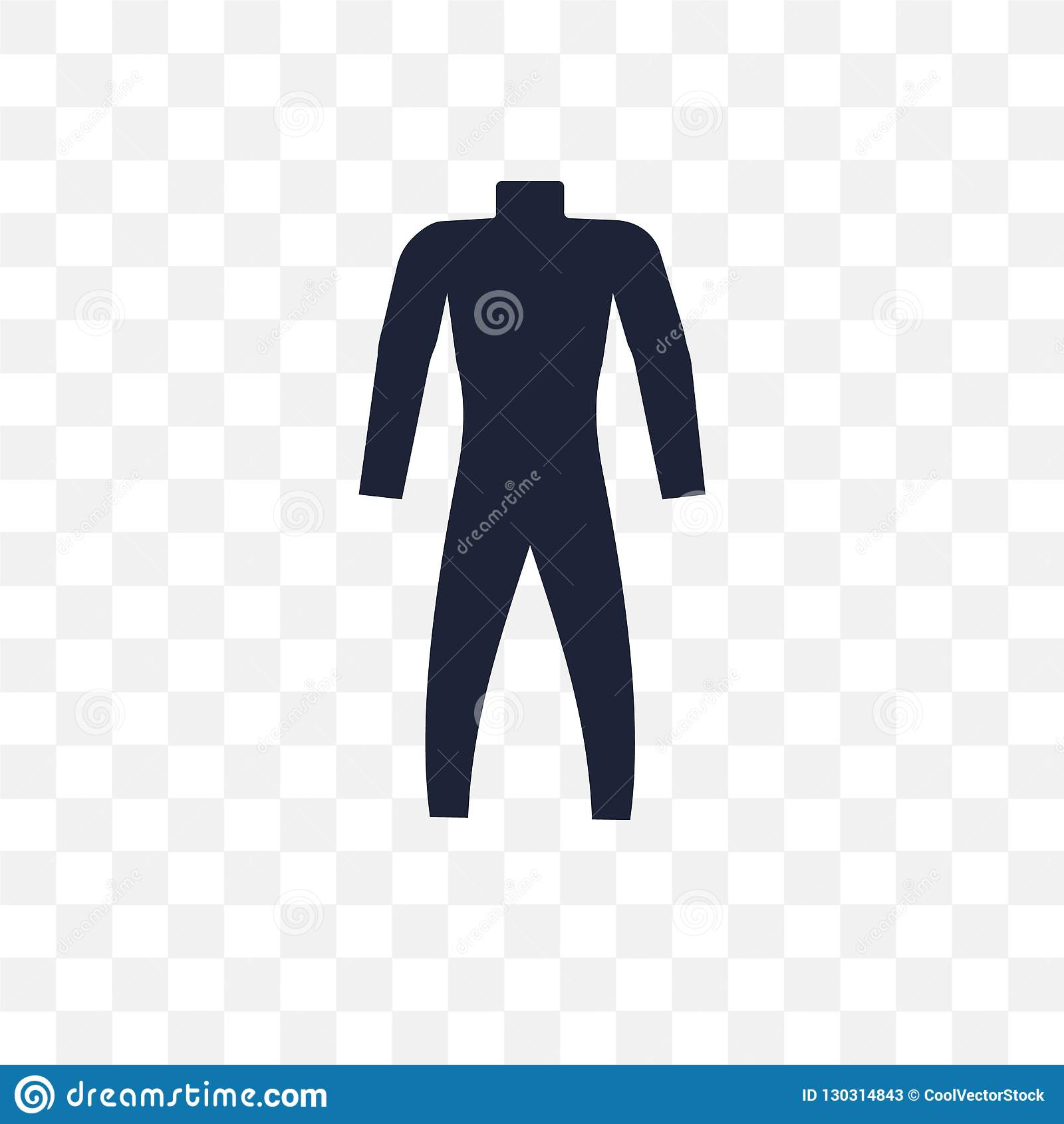 Icône transparente de Wetsuit Conception de symbole de Wetsuit de coll d été