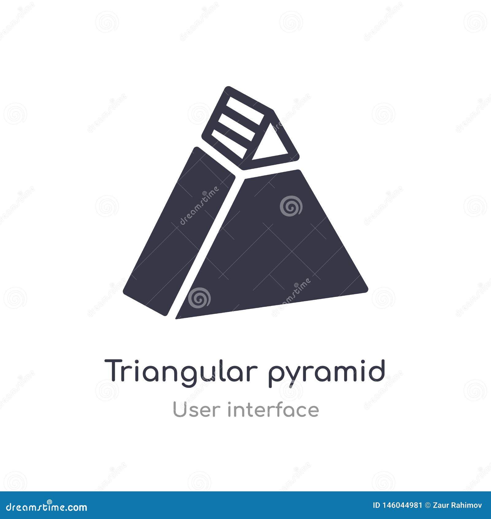 Icône triangulaire d ensemble de pyramide ligne d isolement illustration de vecteur de collection d interface utilisateurs course