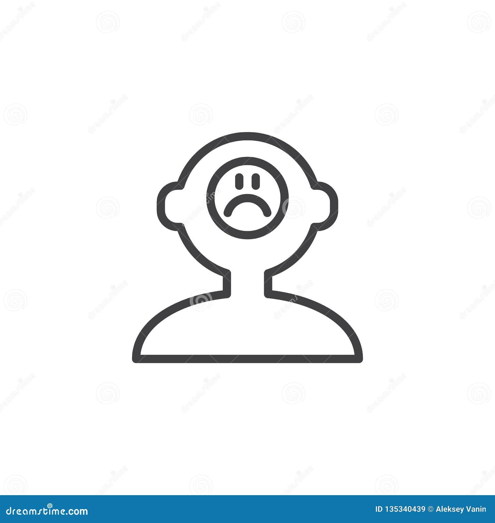 Icône triste d ensemble d esprit humain d humeur