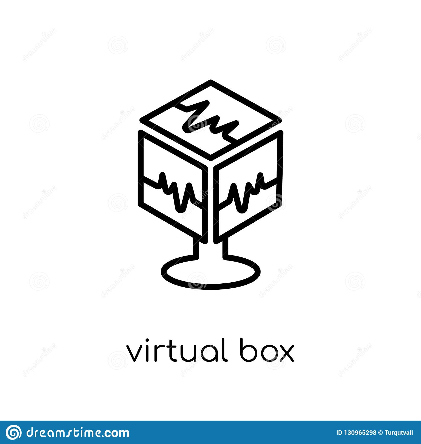 Icône virtuelle de boîte Boîte virtuelle i de vecteur linéaire plat moderne à la mode