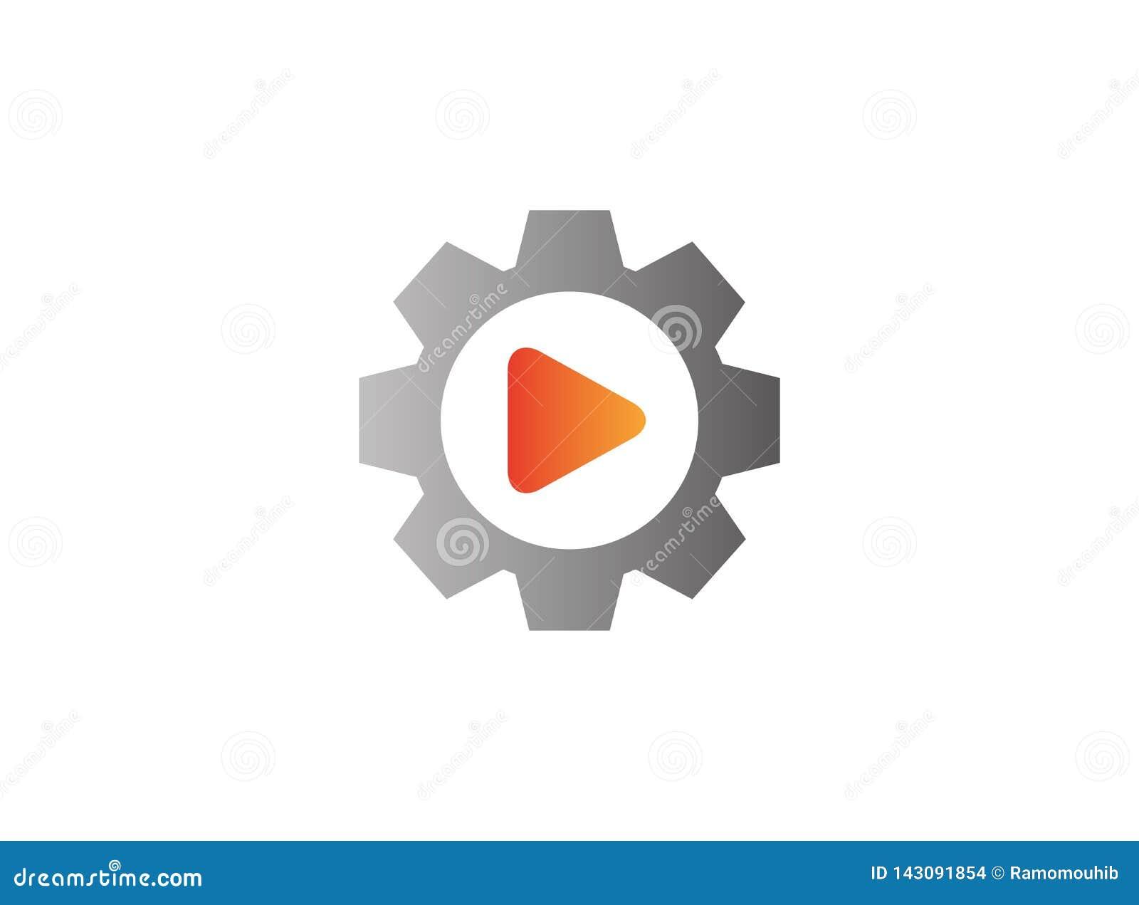 Icône visuelle de jeu à l intérieur d un pignon de vitesse pour la conception de logo