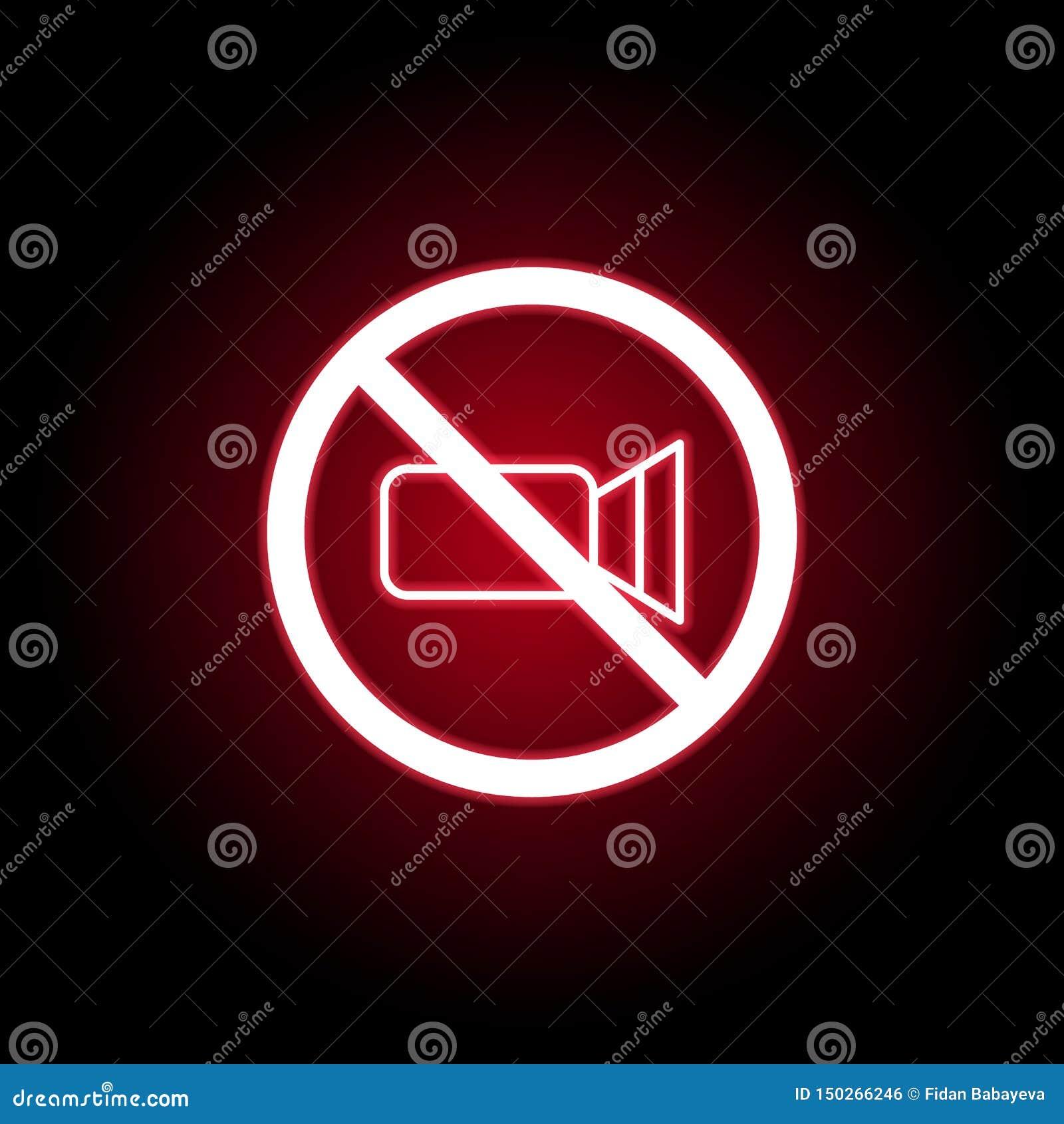 Icône visuelle interdite dans le style au néon rouge Peut ?tre employ? pour le Web, logo, l appli mobile, UI, UX