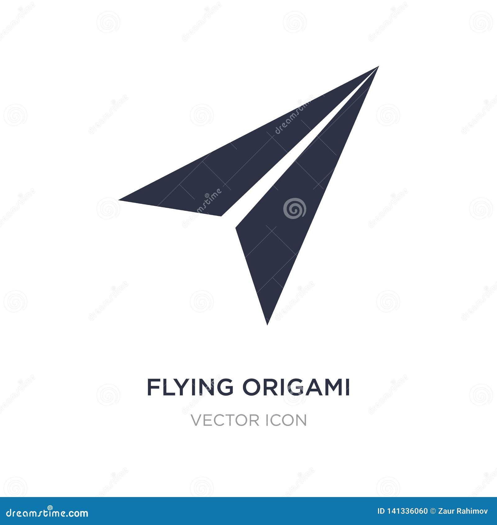 Icône volante d avion d origami sur le fond blanc Illustration simple d élément de concept d UI
