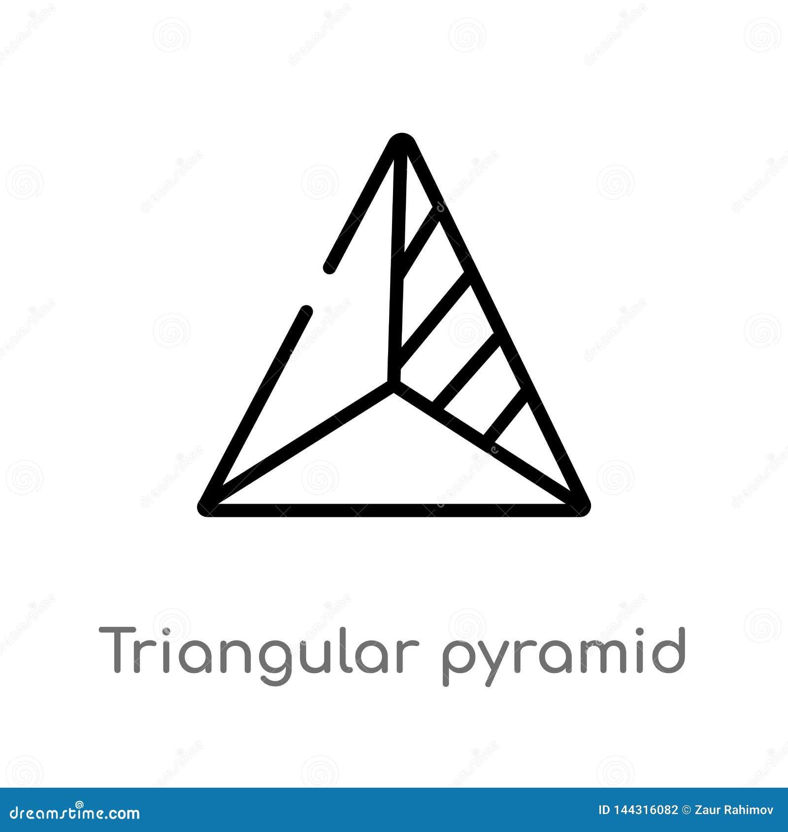 Icône volumétrique de vecteur de forme de pyramide triangulaire d ensemble ligne simple noire d isolement illustration d élément