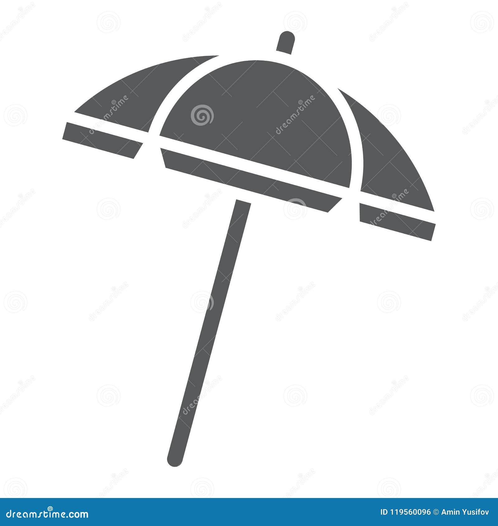 Icône, voyage et parasol de glyph de parapluie de plage