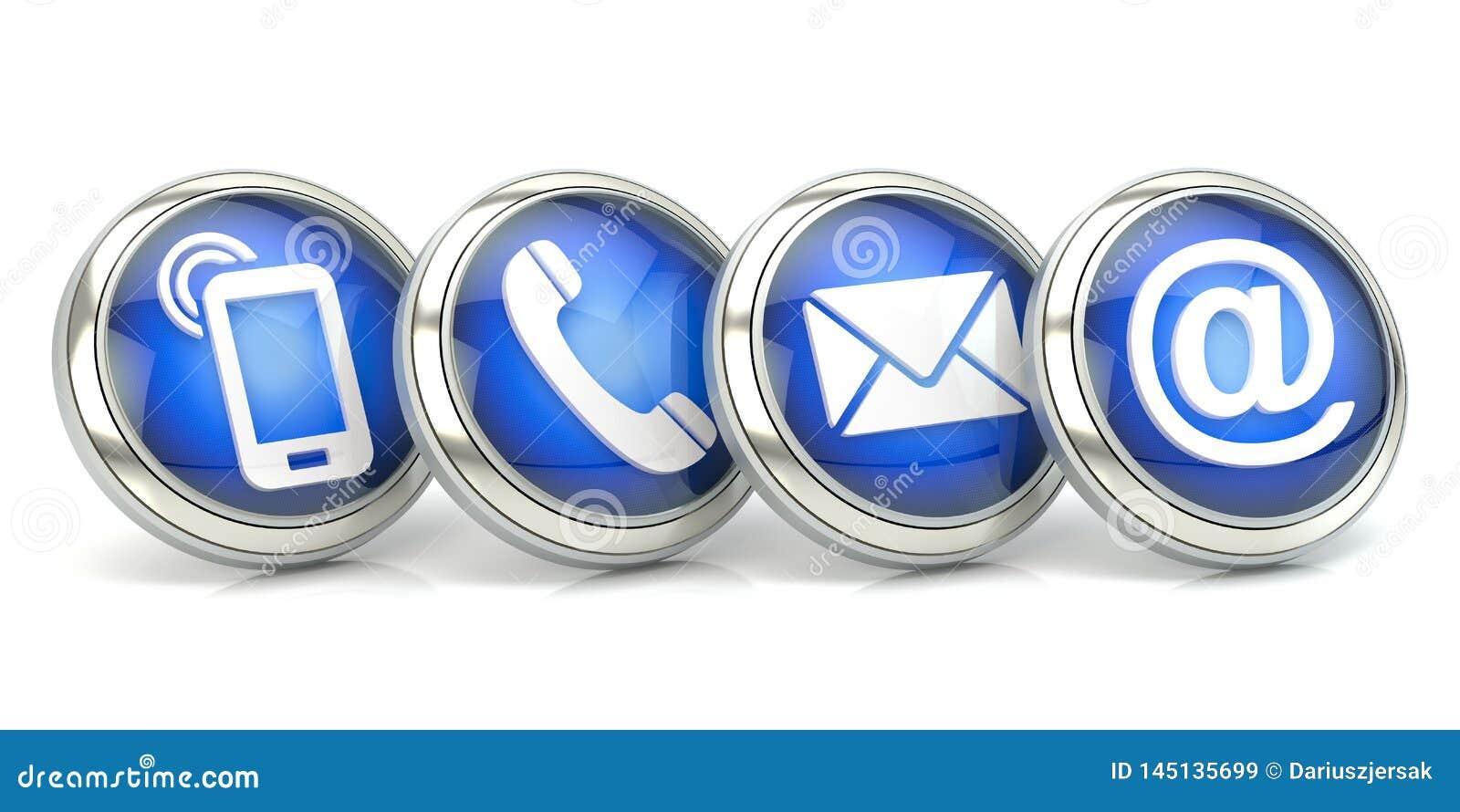 Icônes bleues de contact, illustration 3D
