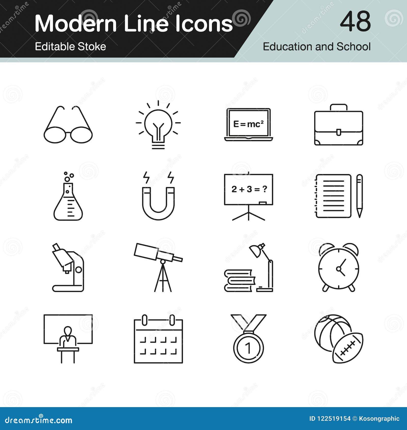 Icônes d éducation et d école La ligne moderne conception a placé 48 Pour prese