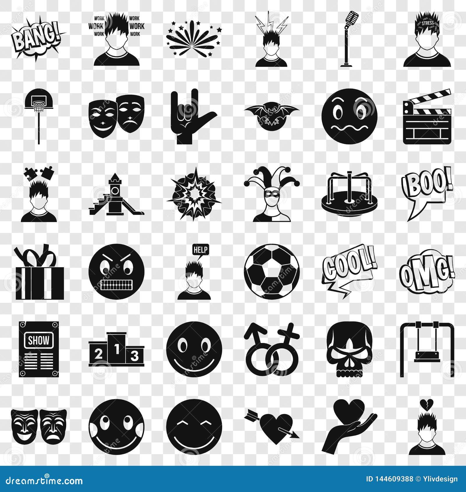 Icônes d émotion réglées, style simple