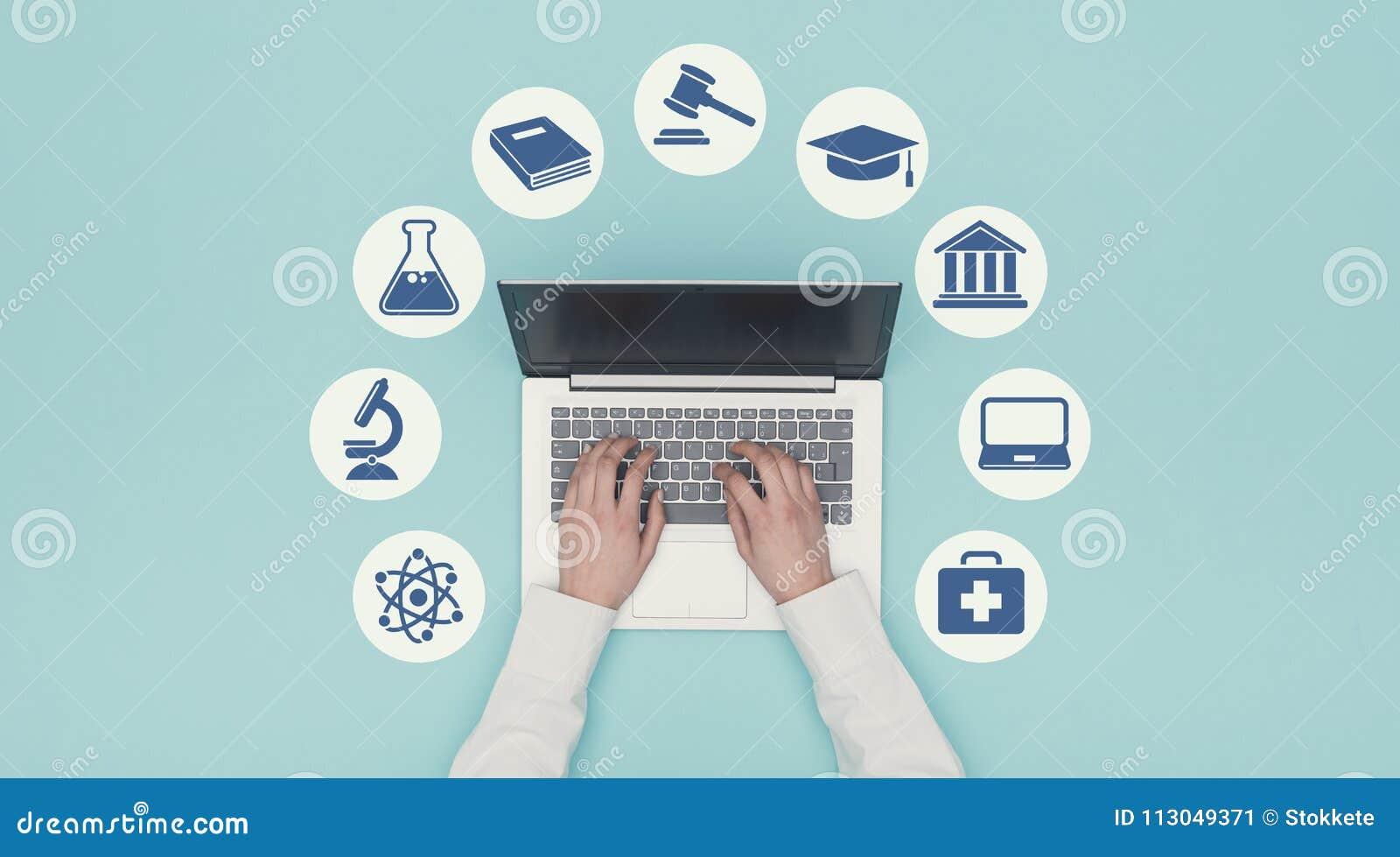 Icônes d apprentissage en ligne et d éducation