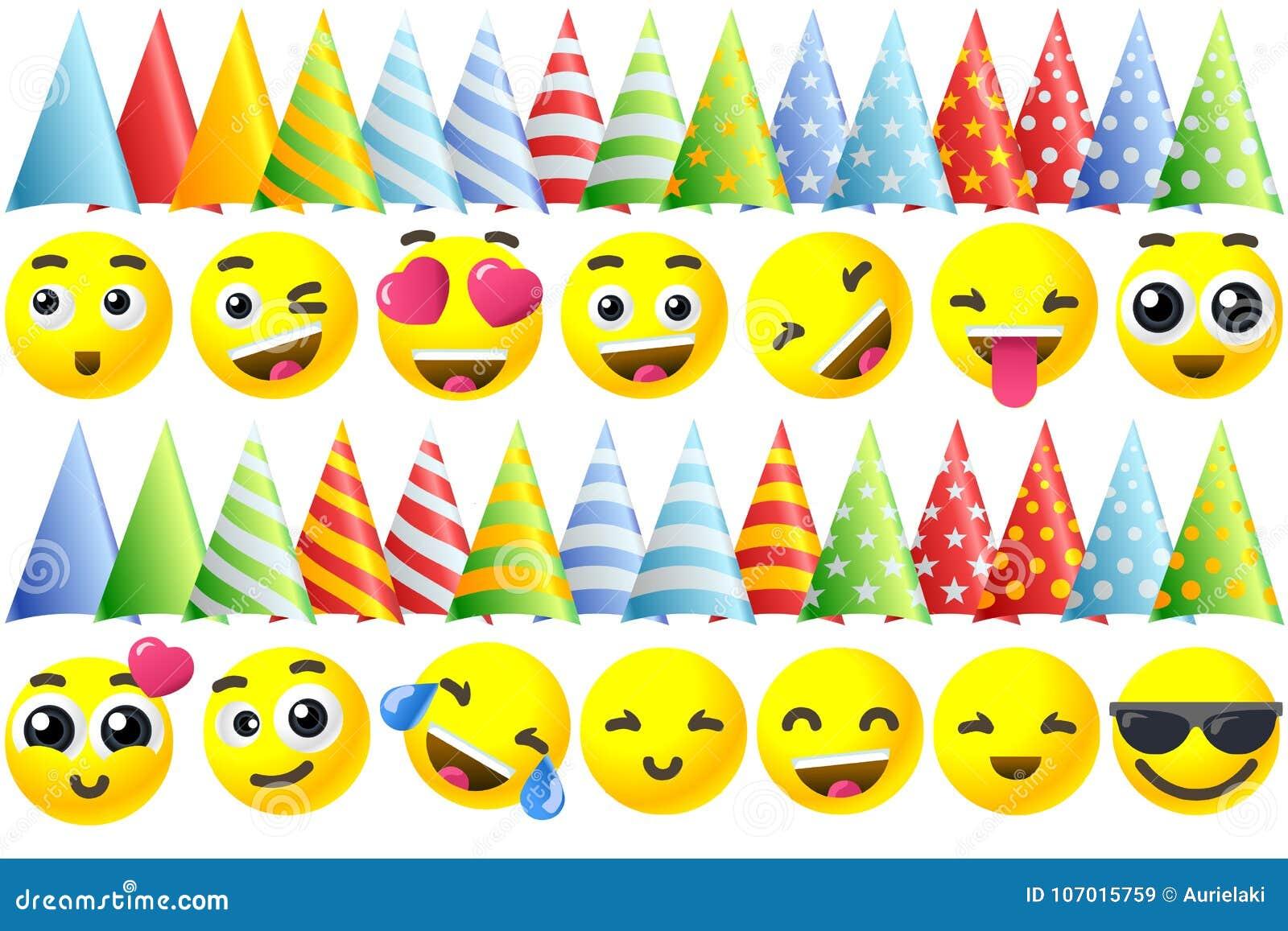 Icônes d Emoji de joyeux anniversaire