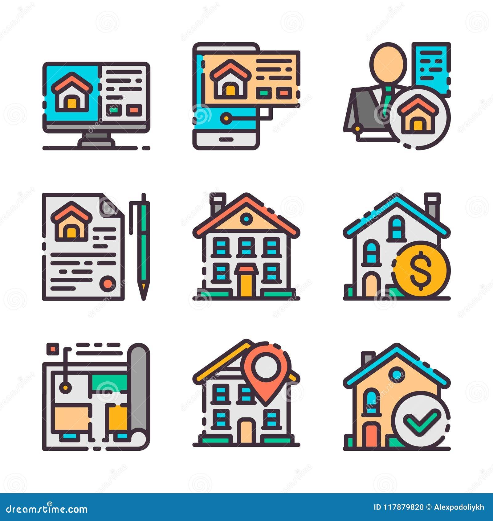 9 icônes d immobiliers de vecteur réglées Chasse à la maison Le vecteur colore des icônes
