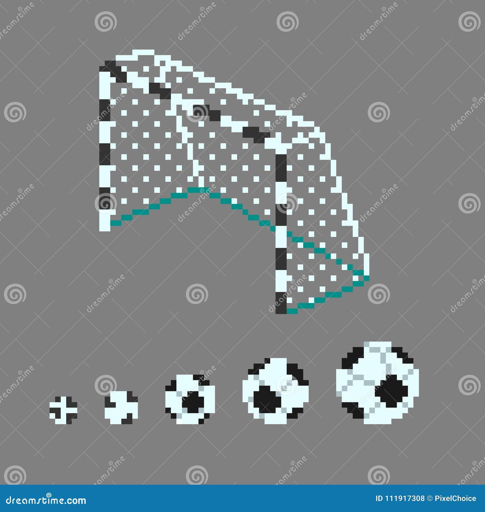 Icônes De Ballon De Football Dart De Pixel Illustration De