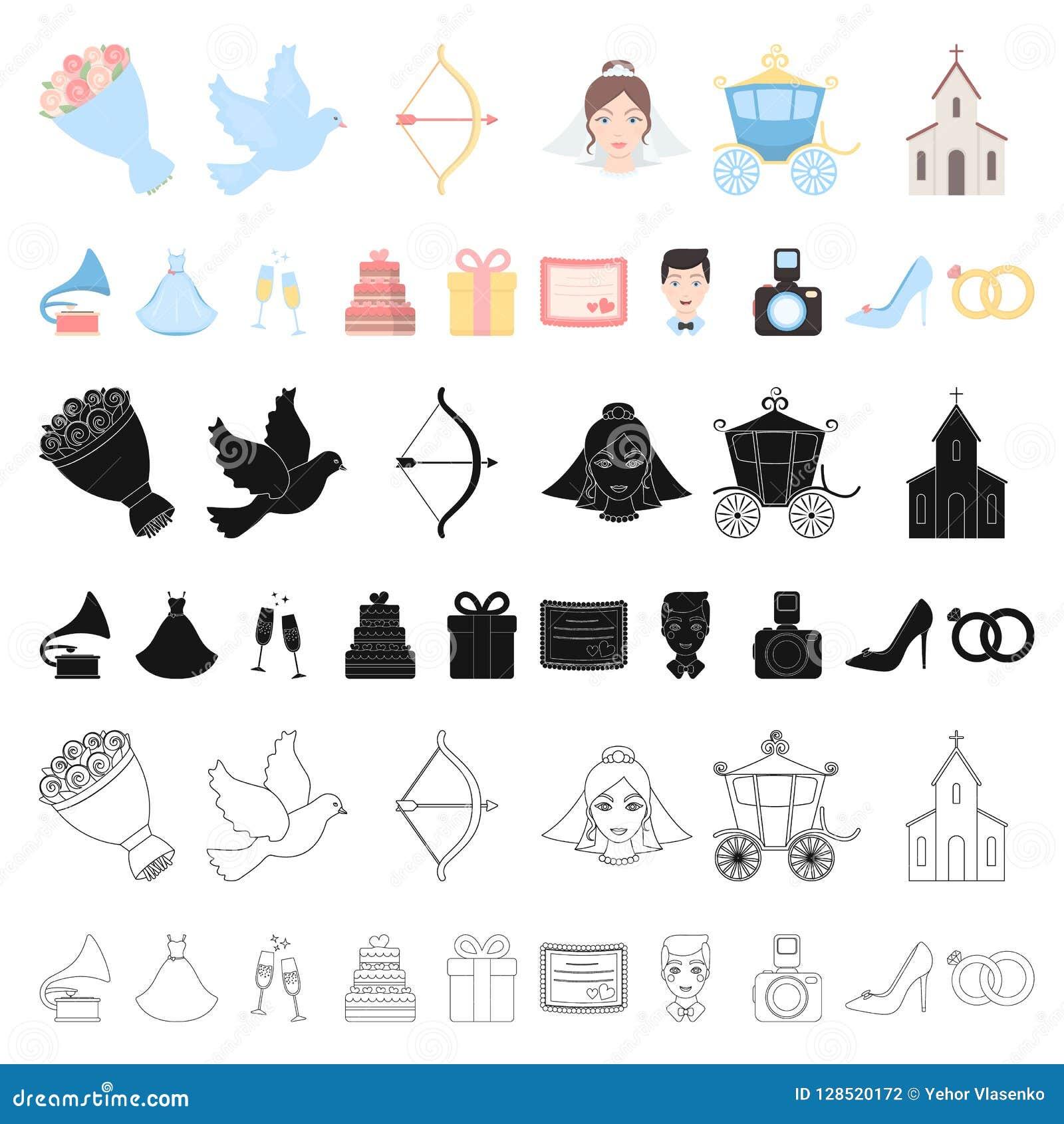Icônes de bande dessinée de épouser et d attributs dans la collection d ensemble pour la conception Web d actions de symbole de v