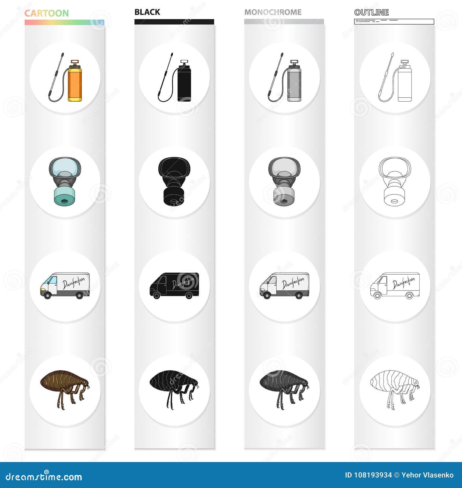 Icônes de bande dessinée de parasite, de poison, de personnel et d équipement dans la collection d ensemble pour la conception Sy