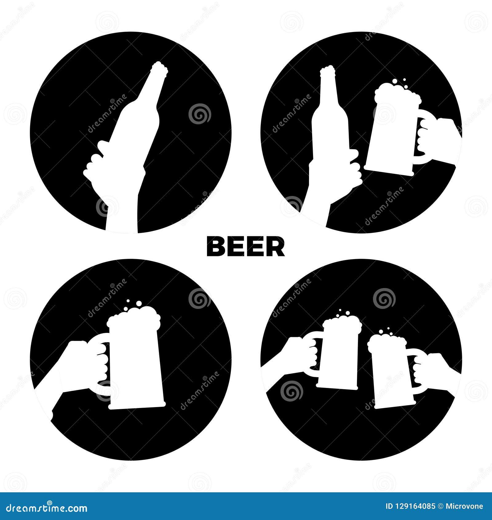 Icônes de bière de vecteur réglées Bière noire et blanche en silhouettes de mains