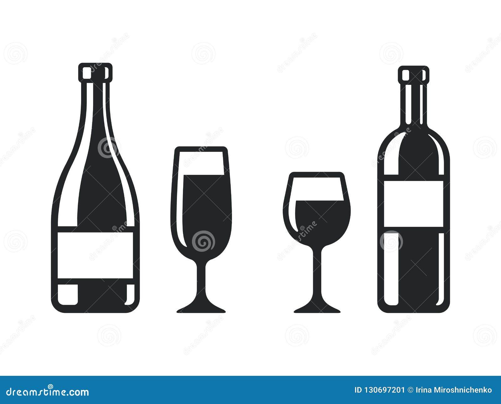 Icônes De Bouteilles Et En Verre De Vin Illustration de