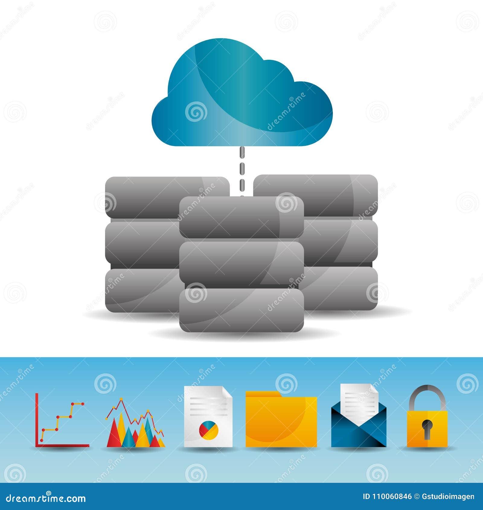 Icônes de calcul de technologie de base de serveur de données de nuage