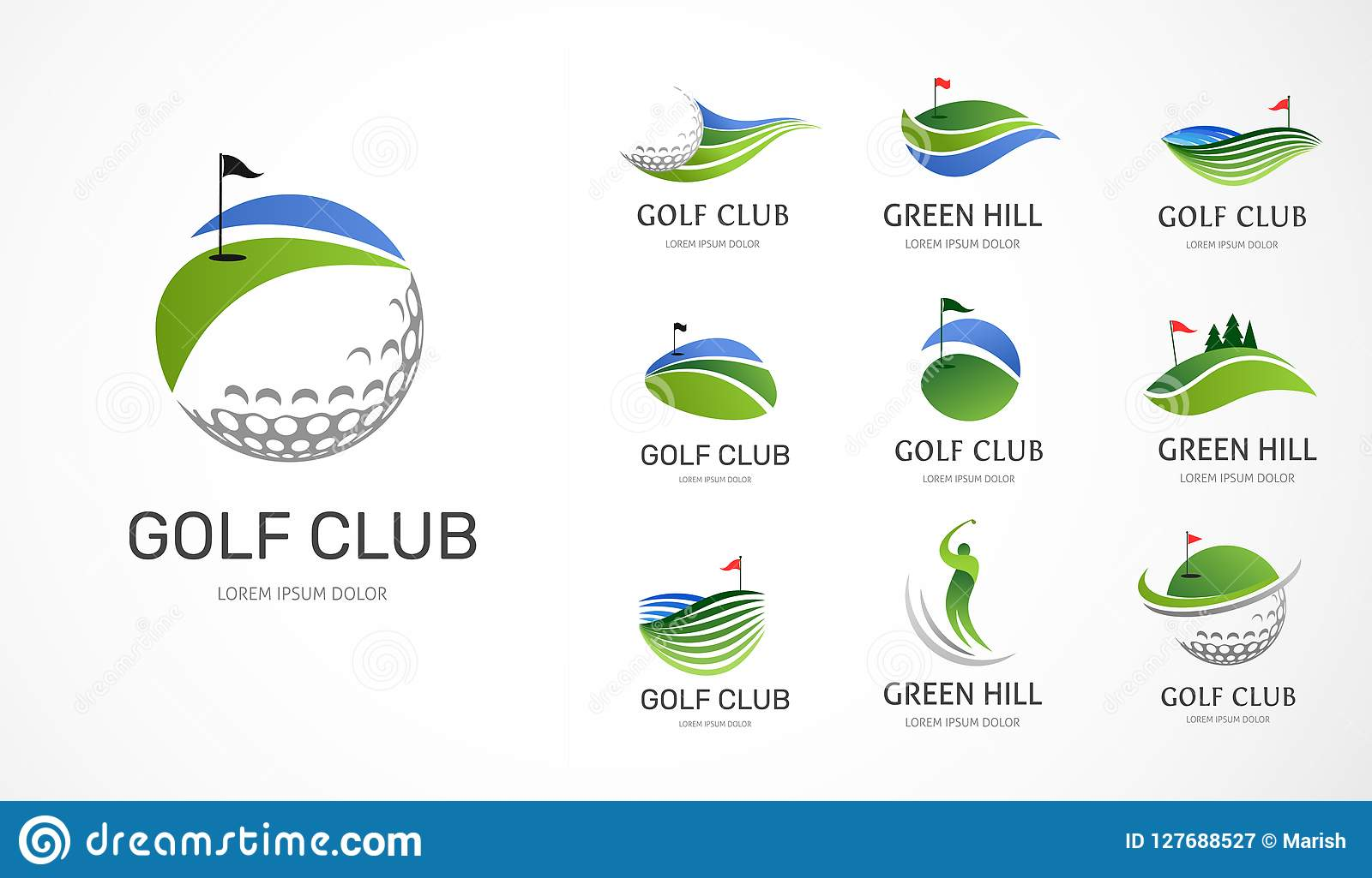 Icônes de club de golf, symboles, éléments et collection de logo