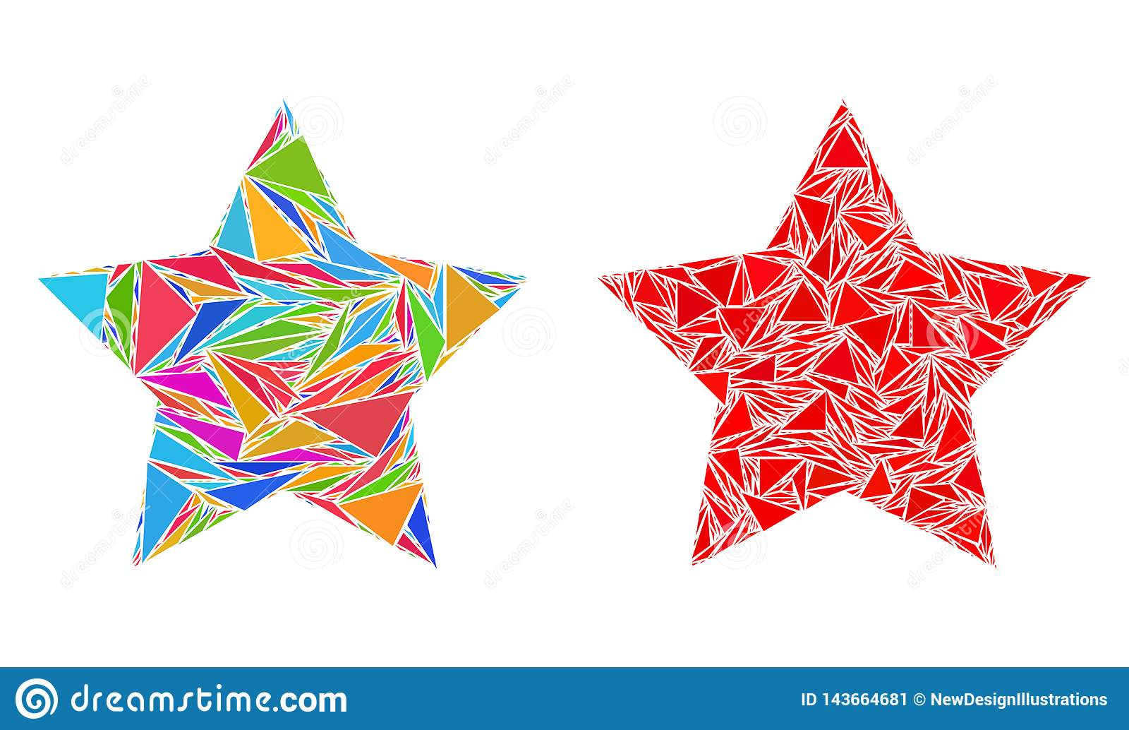 Icônes de collage de Red Star de triangle