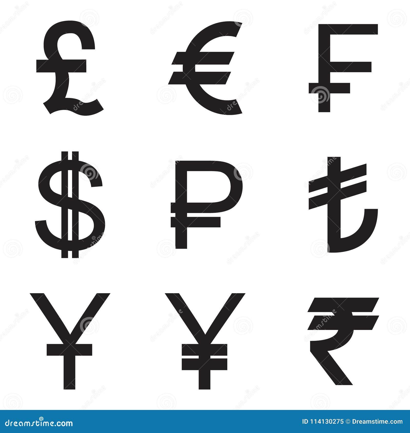 Icones De Devise Reglees Livre Euro Franc Dollar Rouble