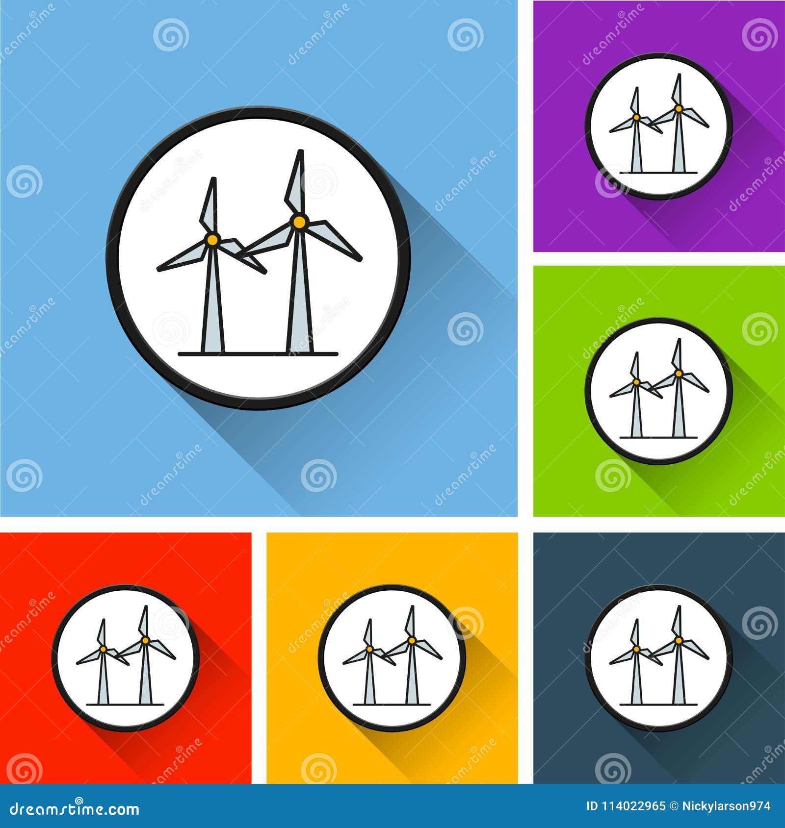 Icônes de générateur de vent avec la longue ombre