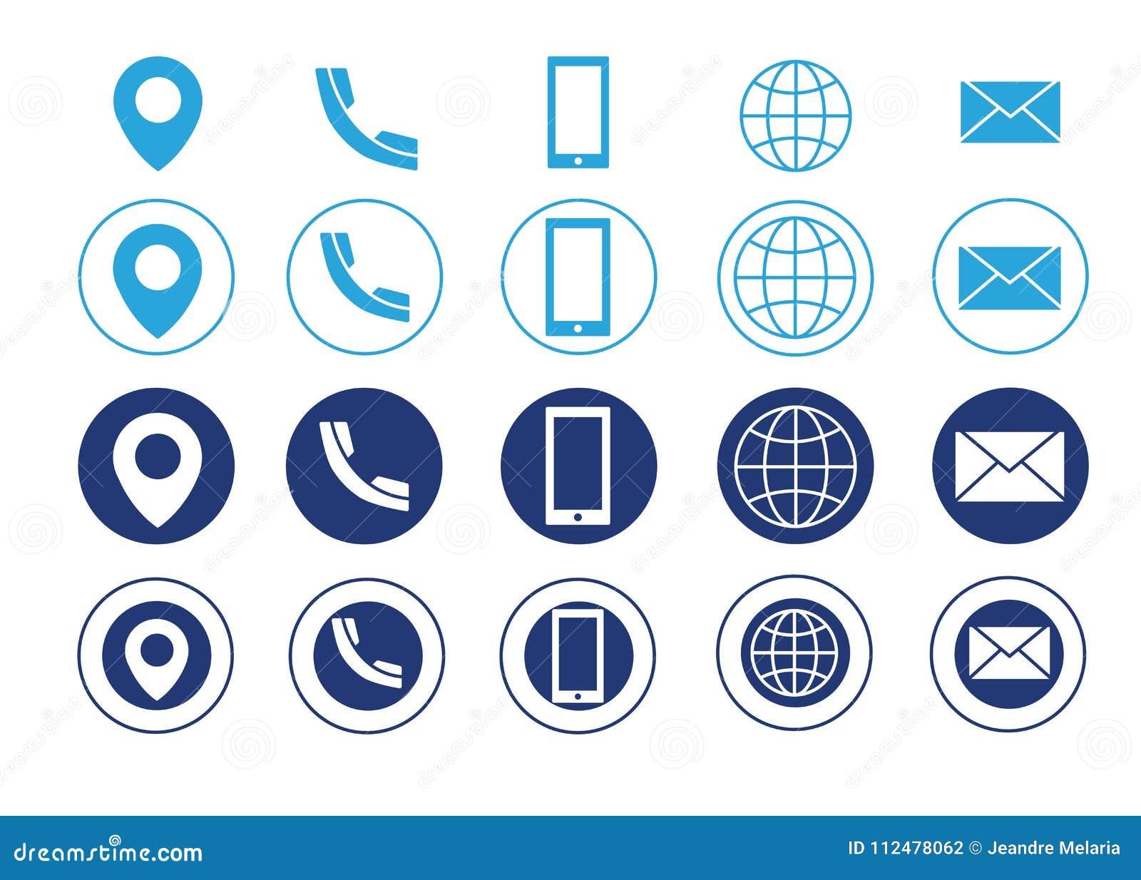Carte De Visite Professionnelle Bleue Vecteur Icones Linformation Contact Pour Des Sites Web Et Applications