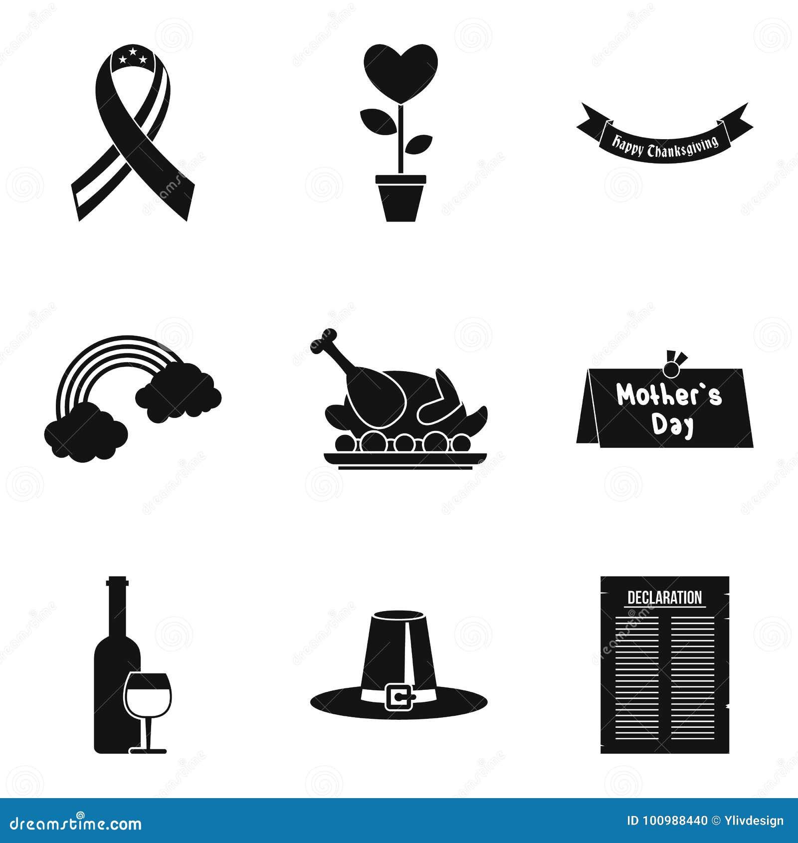 Icônes de liste de cause réglées, style simple