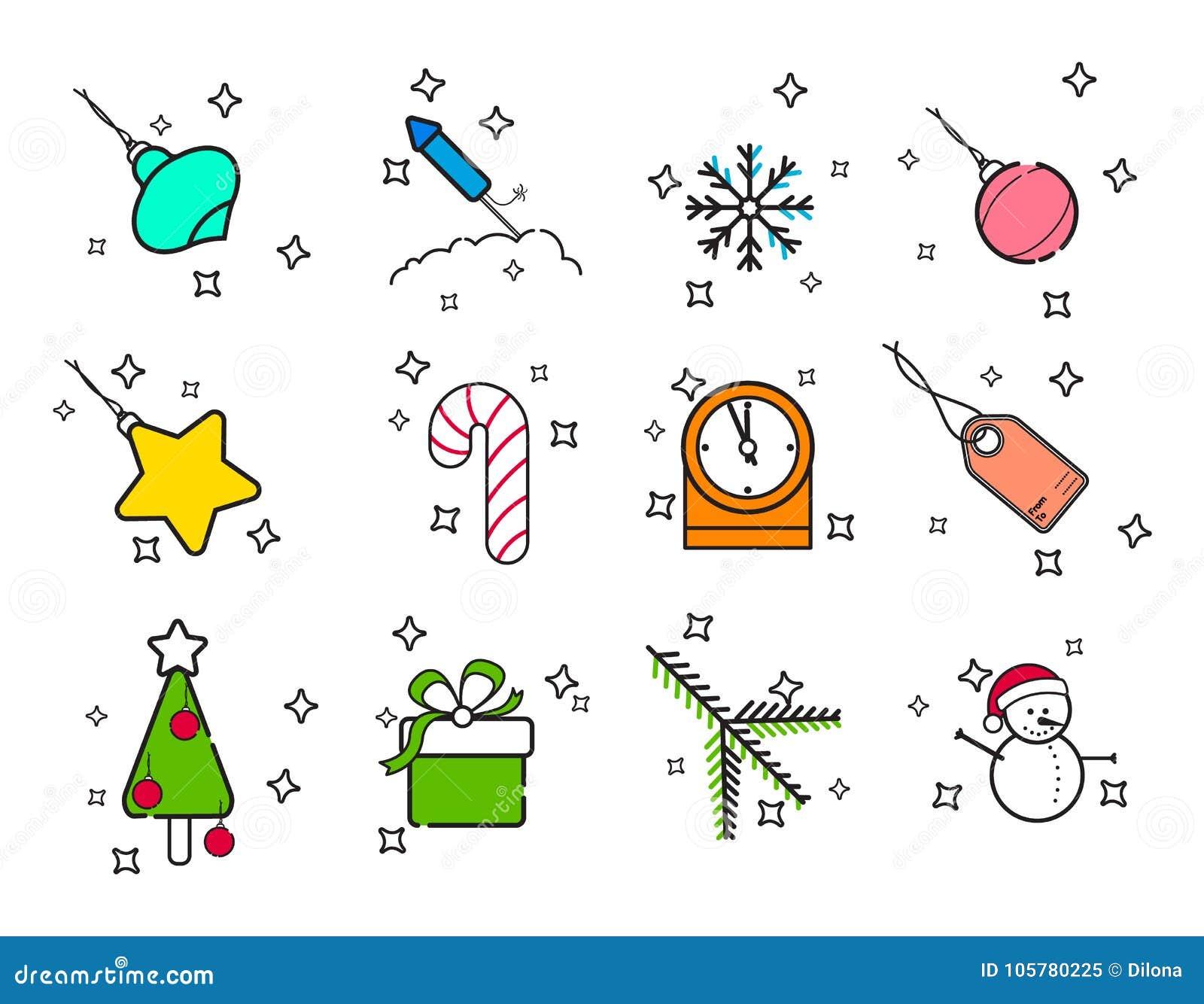 Icônes de Noël de vacances de schéma réglées Ligne moderne icônes de vacances réglées de nouvelle année de vecteur pour le Web et