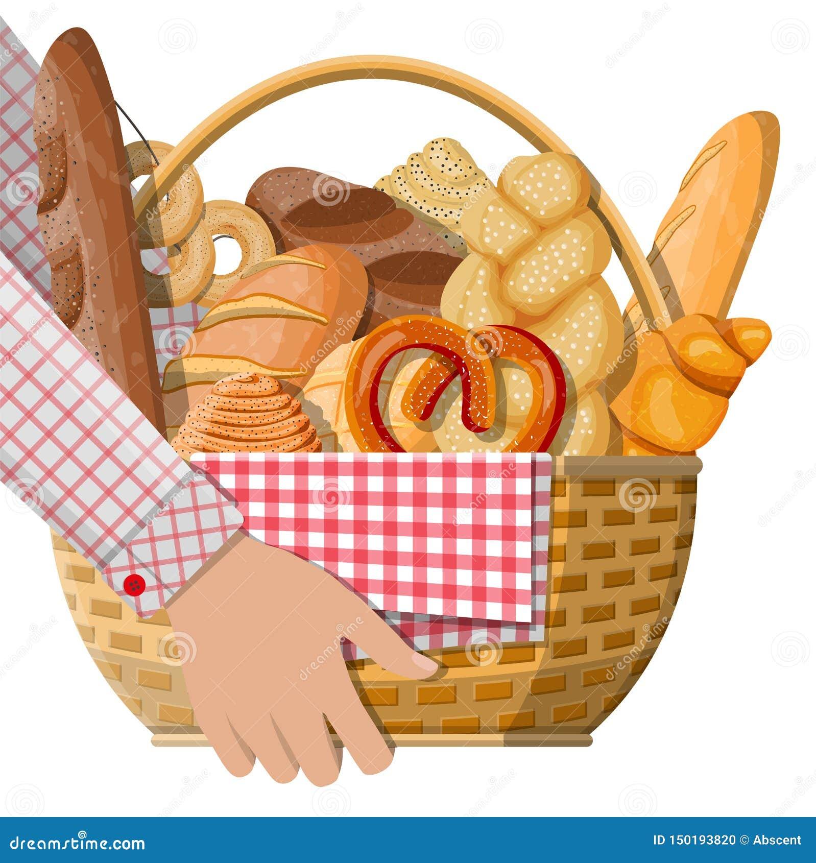 Icônes de pain et panier en osier à disposition