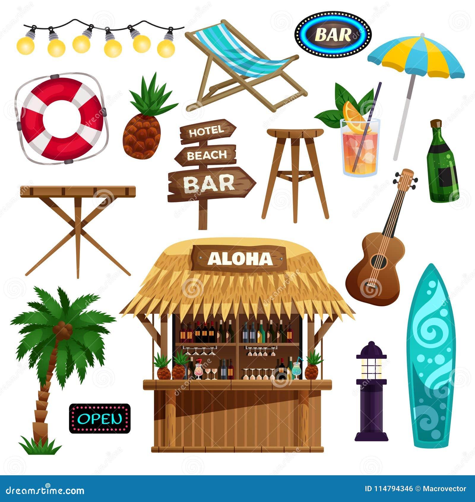 Icônes De Vacances D été Réglées Illustration De Vecteur
