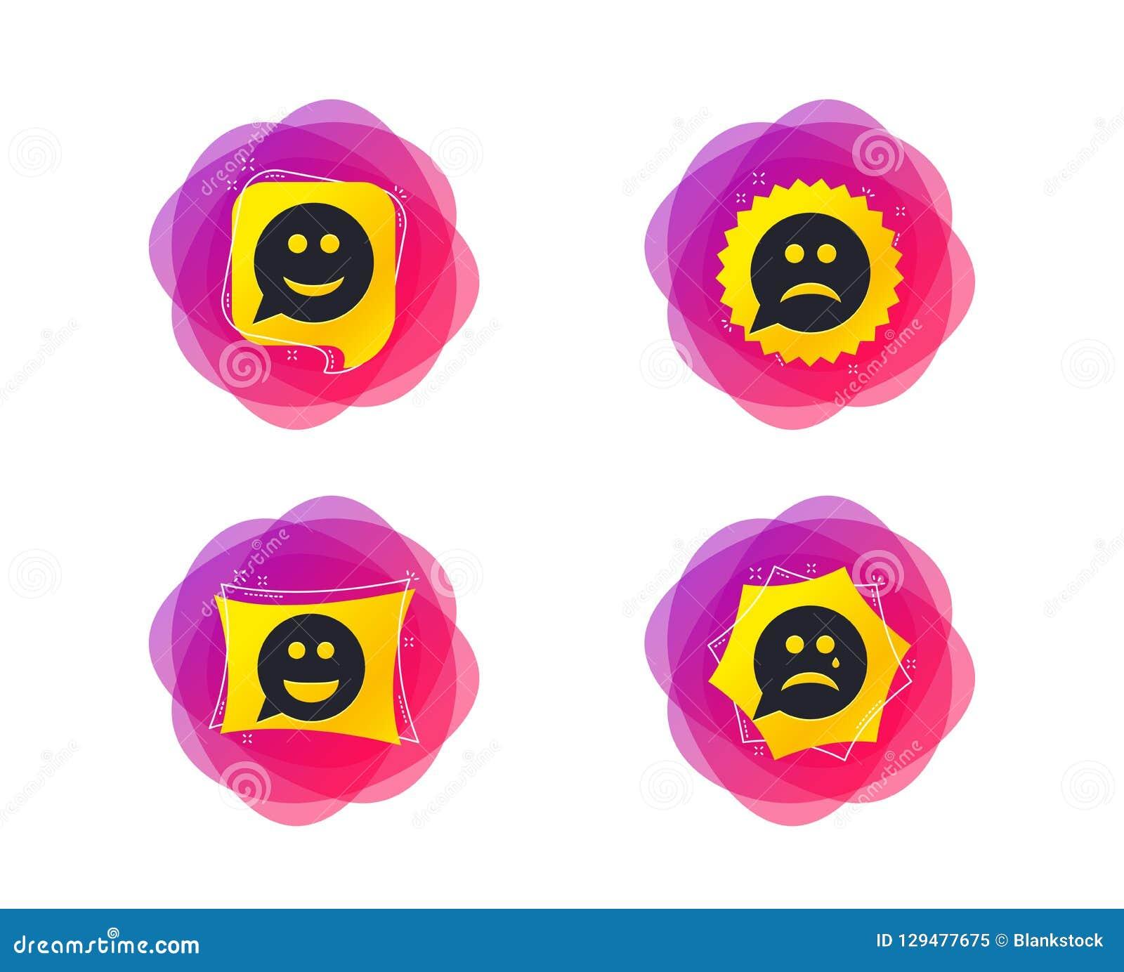 Icônes de visage de sourire de bulle de la parole Heureux, triste, cri Vecteur