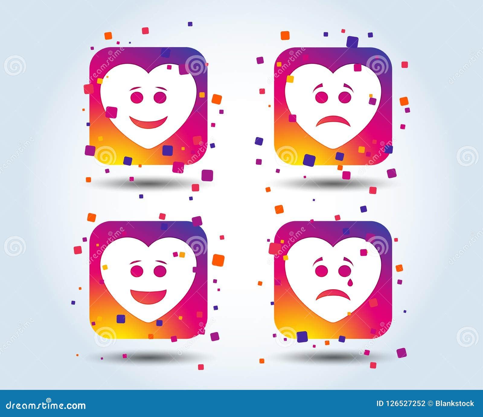 Icônes de visage de sourire de coeur Heureux, triste, cri