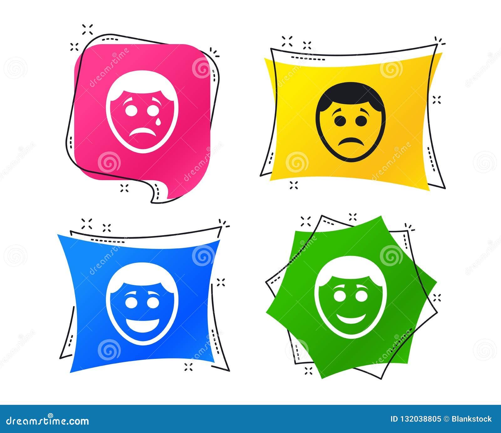 Icônes humaines de visage de sourire Heureux, triste, cri Vecteur