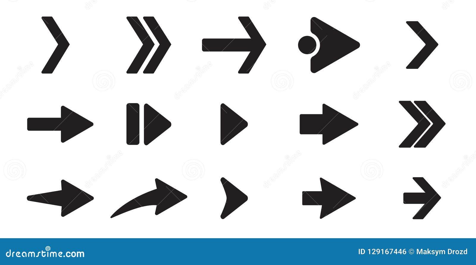 Icônes noires de flèche réglées Concept différent de forme, bouton d Internet d isolement sur le fond blanc, conception graphique