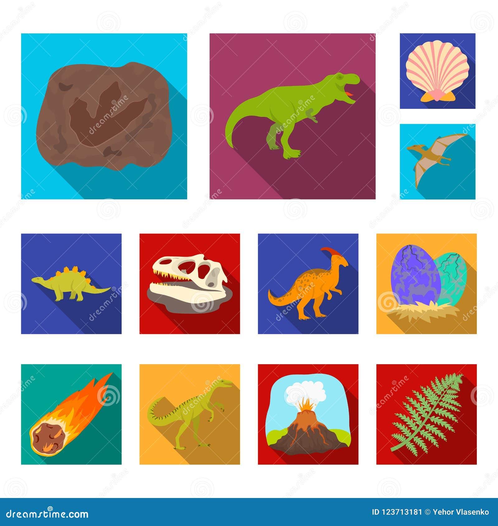 Icônes plates de différents dinosaures dans la collection d ensemble pour la conception Illustration animale préhistorique de Web