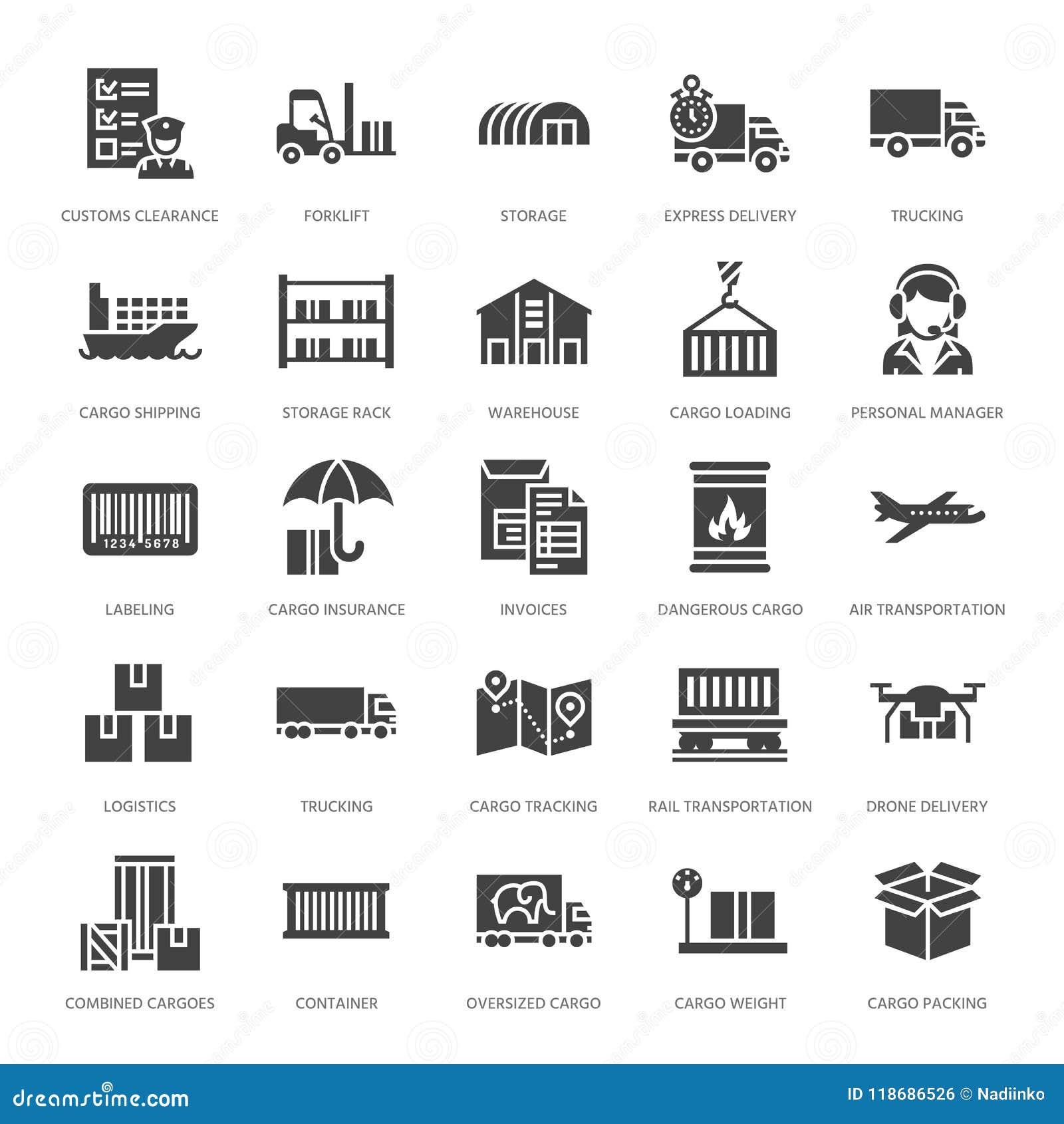 Icônes plates de glyph de transport de cargaison troquant, la livraison express, logistique, expédition, douane, paquet, dépistan