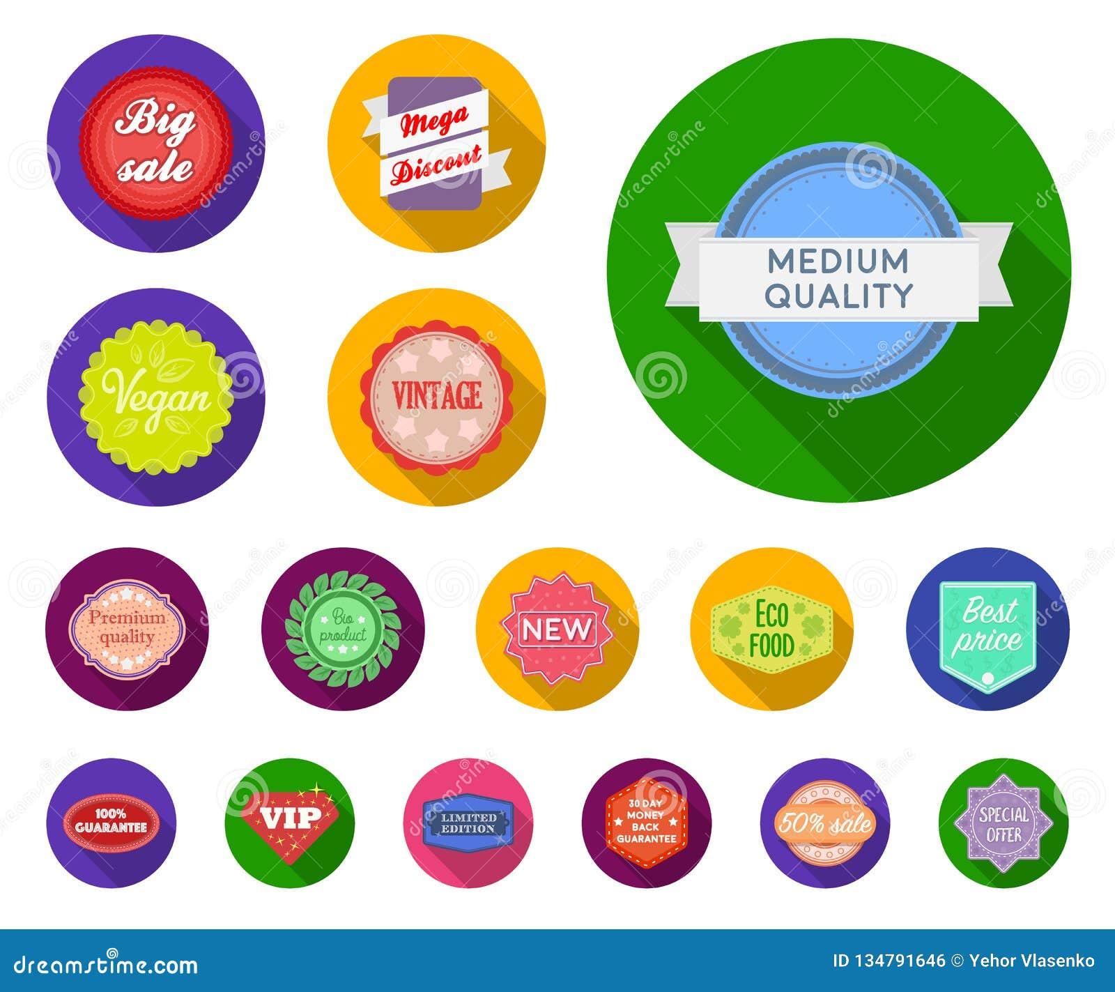 Icônes plates de label différent dans la collection d ensemble pour la conception L index et la marque dirigent l illustration co
